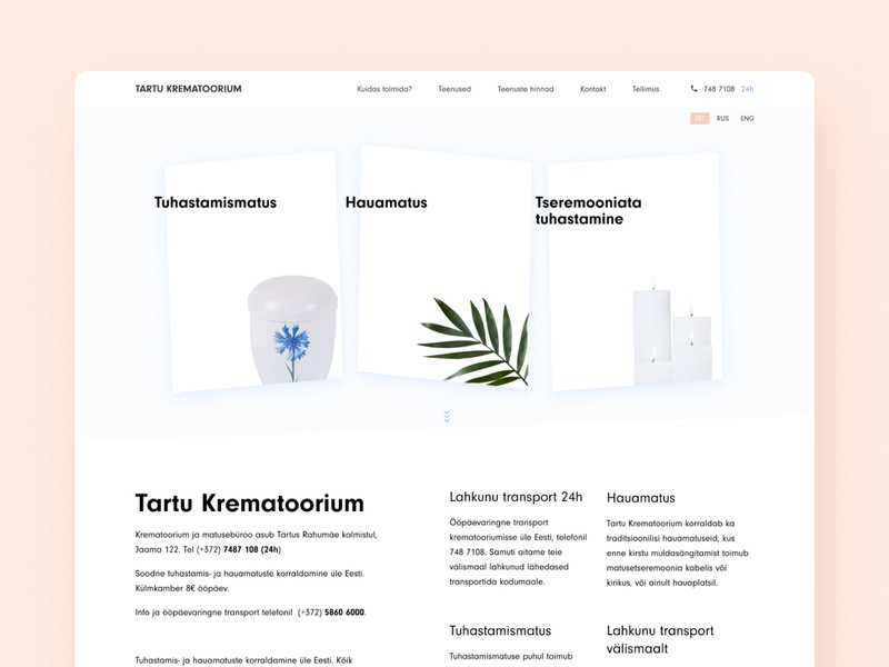 🔥🔥🔥 cremate estonia landing page tool funeral memorial service landing service design burial funeral