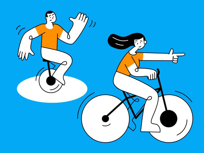 Why is it better to pay more? illustrator bike ride bicycle clean design character vector art illustration