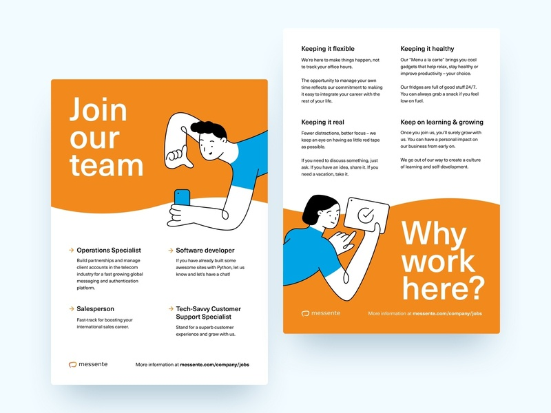 Why work here? clean design branding booth expo career character jobs hiring hire vector poster illustration corporate