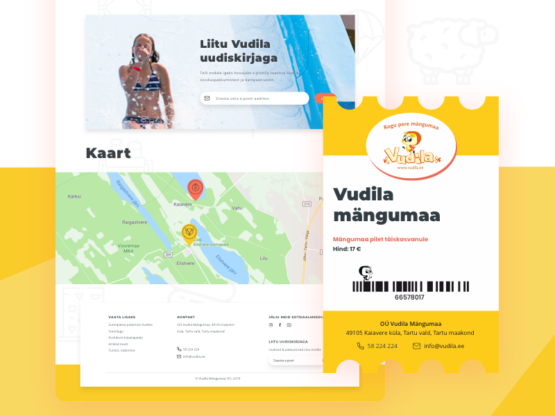 Grab a ticket! location minimal yellow online barcode pointer map footer landing print colorful bright clean amusement park ticket brand design ui ux web