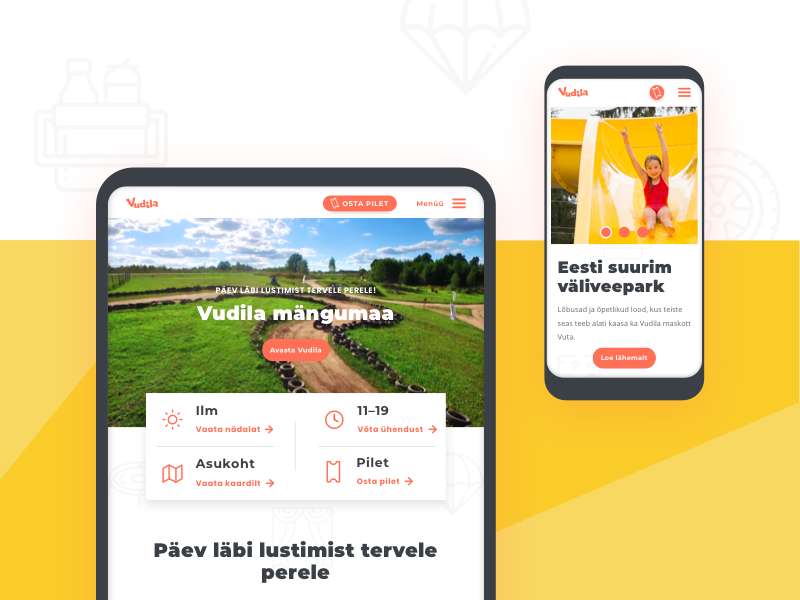 For all ages, in all sizes 🖥️ screen colorful simple clean children amusement layout flexible header tablet mobile size device ux ui landing webpage website web responsive