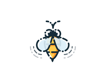 Bee spring simple yellow illustration icon bee