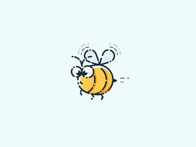 Bee Stupid yellow spring illustration icon bee