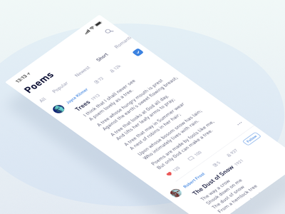App for Poetry ux ui text clean simple paragraph minimalism minimal blog article app