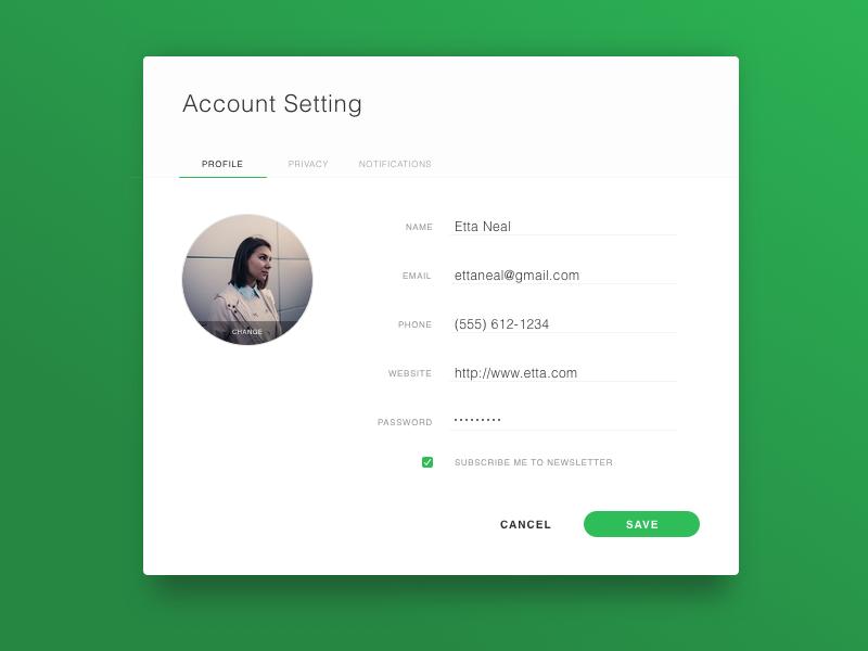 Day 73 - Account Settings usename up settings pop modal input form profile account