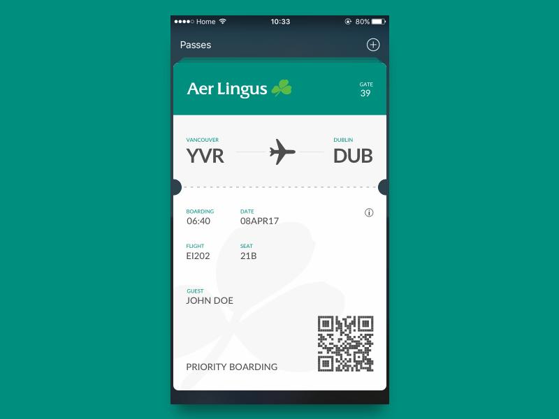 Day 74 - Boarding Pass ticket scanner plane wallet apple passenger pass flight code boarding bar