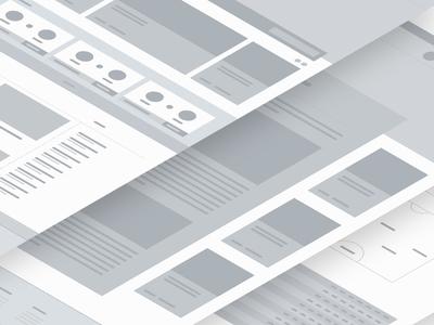 Wireframes app flat web vector design project desktop greyscale wip ux ui wireframe