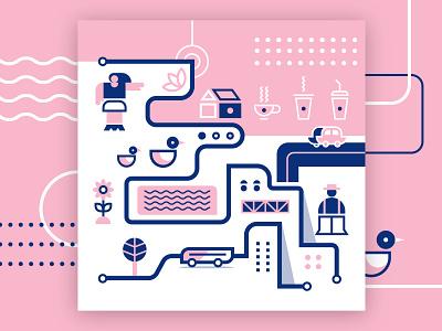 Mini City Lines No. 4 pink city city illustration vector illustration