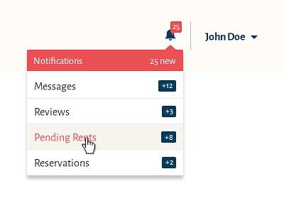Renting site wip ui dropdown notification blue red rent