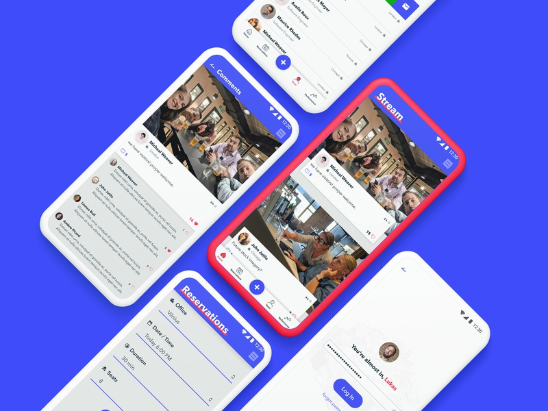 Mobile social network mobile app design comments team reservation stream devbridge ux design ux mobile app mobile design mockup lithuania ui