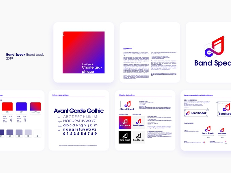 Band Speak Brand ✨ cards typography tchat speak band gradient brand chat logo music