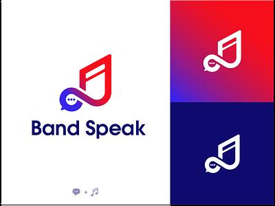 Logo Band Speak  💬+🎵 gradient logo music chat