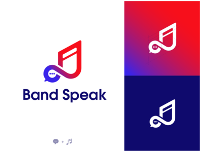 Logo Band Speak  💬+🎵 gradient logo music chat