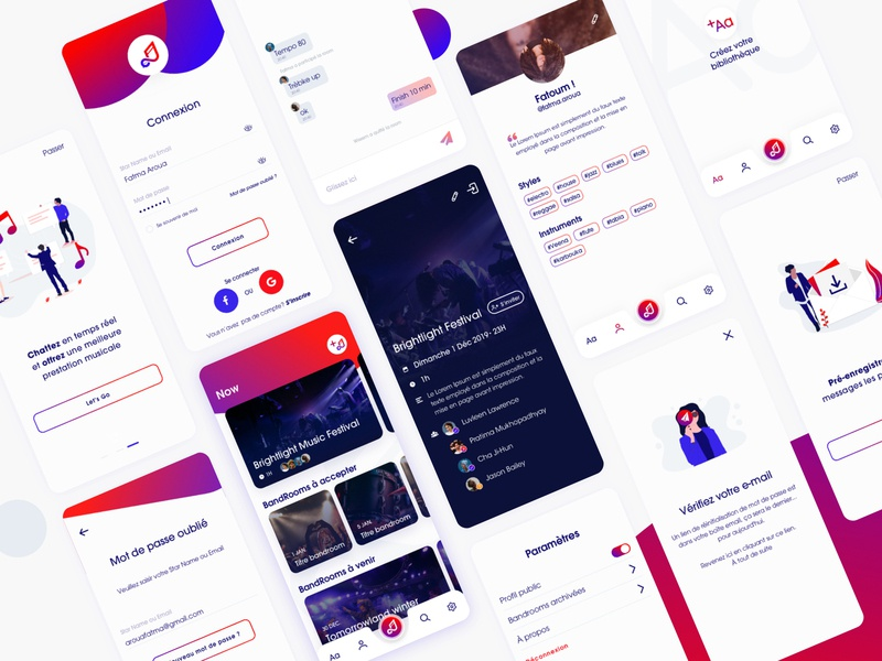 App Band Speak 🎵 settings music app musician profile illustration library onboarding chat login application design music ux ui gradient fatma aroua