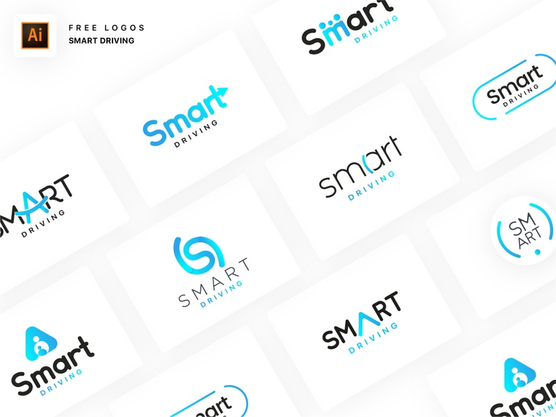 Smart Driving • FREE 9 LOGOS + 2 Dribbble Invites 😱🔥 dribbbble invitation shadow navigation alerts family security car illustrator freebies logos smart driving smart driving free logo bleu gradient branding logo fatma aroua