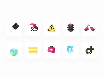 Driving School - Animated icons 🚙🚦 productdesign animation vector branding designsytem illustration gradient driving school lepermislibre icons pack icons