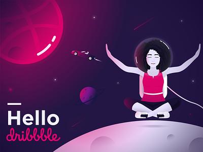 Hello Dribbble fatma aroua dont panic galaxy pink gradient tesla dribbble hello dribbble