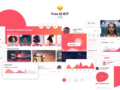 SoundBuzz Music App - Free UI KIT ✌️😎✨ uikit fatmaaroua design dashboard music sketch project uxui print apps free