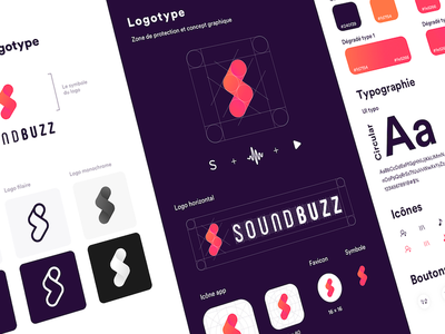SoundBuzz Guidelines icon gradient print ui ux uikits fatma aroua grid logo typography chart branding free logo music guidelines