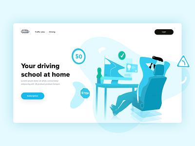 Your driving school at home 🚙 🏠 homepage login traffic desktop blue fatma aroua driving home car driving school illustration