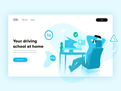 Your driving school at home 🚙 🏠 homepage login traffic desktop blue fatma aroua driving home car driving school illustration