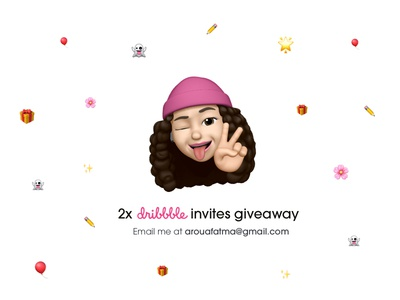 2 Dribbble Invites Giveaway ✌🏻 emojis pink dribbble dribbble invite invitation invite design fatma aroua