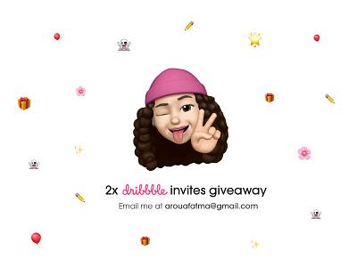 2 Dribbble Invites Giveaway ✌🏻 emojis pink dribbble dribbble invite invitation invite design fatma aroua