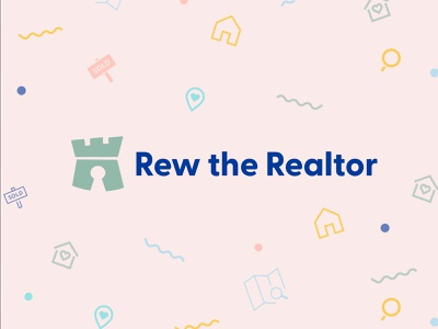 Rew the Realtor Branding pattern quirky funky logo realtor logo branding