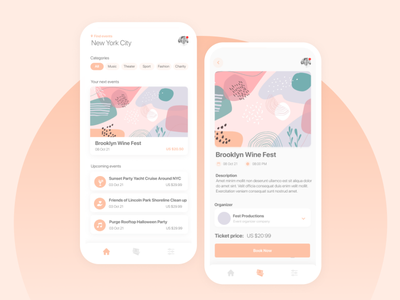 Events 🎟️ | Mobile App tickets events interface mobile ui app
