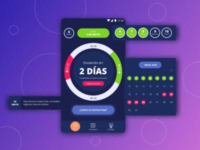Period tracker APP mobile design period tracker interface user ui calendar ovulation mobile app