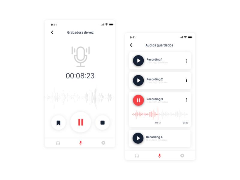 Voice recording app voicerecorder app voice mobile ui
