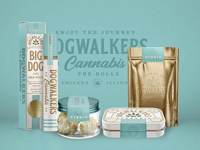 Dog Walkers Hybrid flower jar tin foil embossed design marijuana hybrid dog cannabis branding packaging
