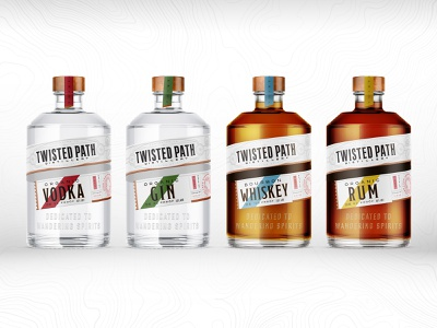 Twisted Path Line up packaging design vodka path twisted booze branding design packaging branding