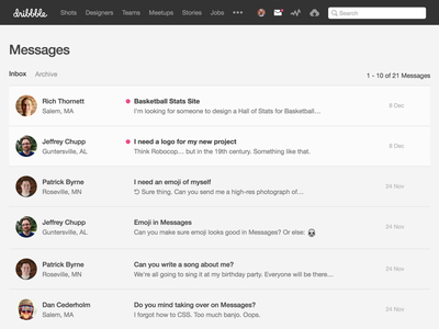 Onsite Messages inbox messages dribbble