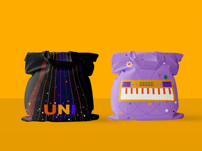 uni music academy totebag visual identity bag tote bag art school creative school illustrated insturment illustrated visual identity black purple piano instrument rythm music study music school learning teaching school education music music education