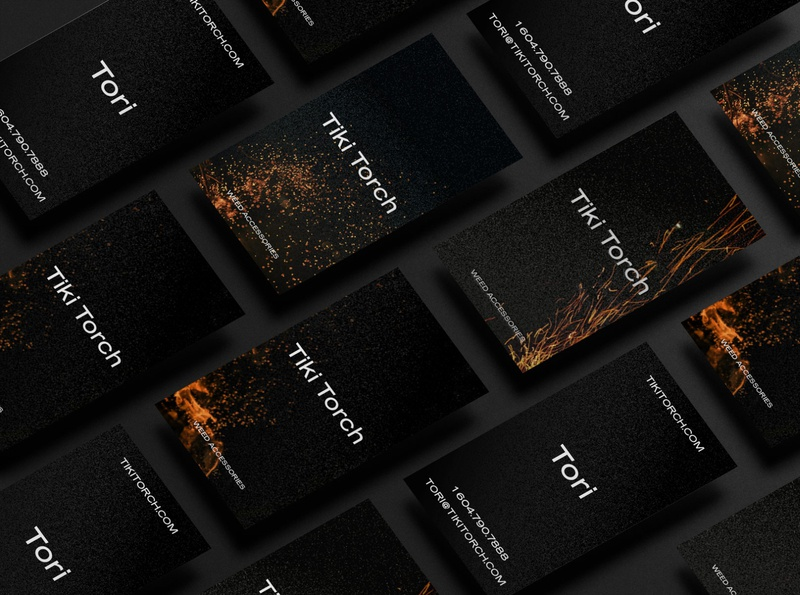 tikitorch busiuness Card burn torch ashes amber flame fire black dark stationary marketing cannabis branding businesscard smoking smoke pipe tabacco cigarette marijuana