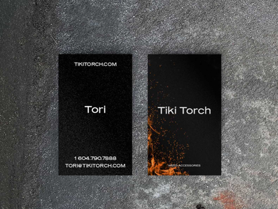 Tiki Torch Business Card design ashes dark black red and black fire flame logodesign stationary logodesing brands branding design stationary business card design business cards business card