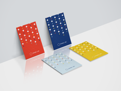 sparklab branding- business card visual identity design design 品牌设计 名片 stationary yellow logo brand identity branding business card color bright yellow navy red blue star spark colorful design