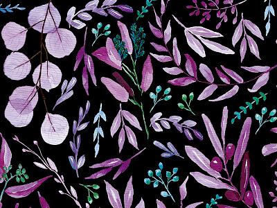 Eucalyptus black watercolor watercolor black pattern nature