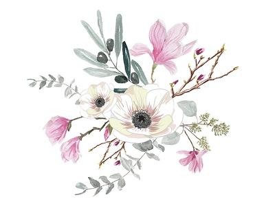 Floral bouquet pattern drawing painting leaves pink watercolor illustration flowers