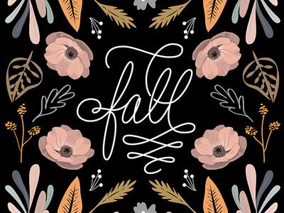 Fall has arived... lettering art lettering graphic design black botanic typography design floral flowers illustration