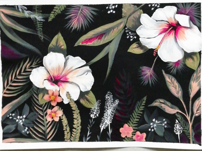 Tropical Night mural paint acrylic black flowers floral painting illustration