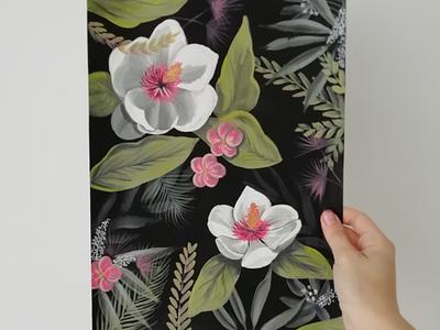 Magnolias tropicales art mural nature botanical floral painting illustration flowers