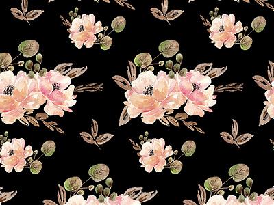 Vintage Black painting pink leaves botanic drawing black watercolor floral flowers pattern illustration