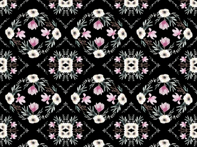 Floral Tiles textile seamless pattern botanic leaves pink design painting nature graphic design drawing black watercolor floral flowers pattern illustration