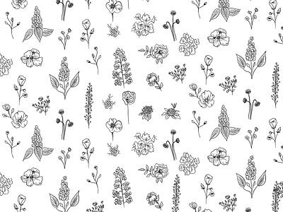 Wildflowers III ink ipadpro procreateapp procreate ipad pro ipad drawing vector nature botanic floral flowers pattern illustration
