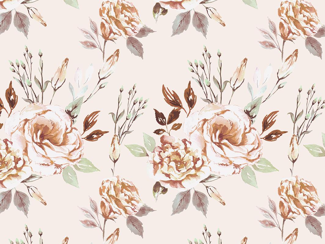 The Calm leaves pastel colors pastels botanic illustration watercolor floral flowers pattern