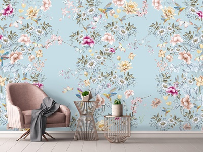 SPA mural mockup mural retouch photoshop design floral flowers graphic design pattern