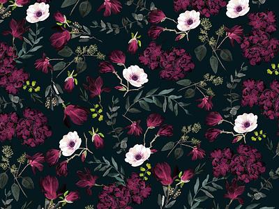 Romantic dark pattern watercolor illustration seamless pattern botanic botanical nature flowers floral pattern