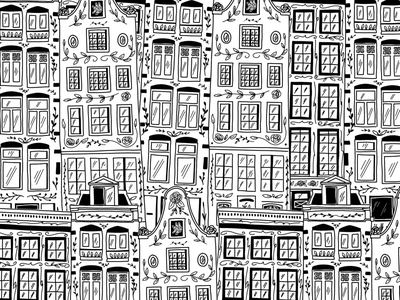 Amsterdam houses travel city flowers floral black and white ink procreate ipad pro drawing houses